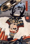 Vintage Japanese samurai warrior poster - Samurai with antlers